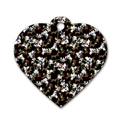 Dark Chinoiserie Floral Collage Pattern Dog Tag Heart (one Side) by dflcprints