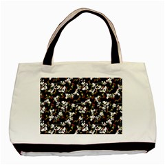 Dark Chinoiserie Floral Collage Pattern Basic Tote Bag (two Sides) by dflcprints
