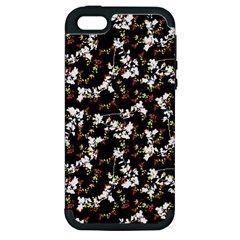 Dark Chinoiserie Floral Collage Pattern Apple Iphone 5 Hardshell Case (pc+silicone) by dflcprints