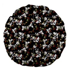 Dark Chinoiserie Floral Collage Pattern Large 18  Premium Round Cushions by dflcprints