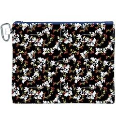 Dark Chinoiserie Floral Collage Pattern Canvas Cosmetic Bag (xxxl) by dflcprints