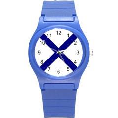 Saint Andrew s Cross Round Plastic Sport Watch (s) by abbeyz71