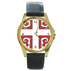 Serbian Cross Shield Round Gold Metal Watch by abbeyz71