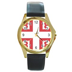 Serbian Cross  Round Gold Metal Watch by abbeyz71