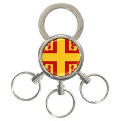 Byzantine Imperial Flag, 14th Century 3 Ring Key Chains by abbeyz71