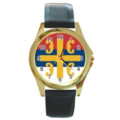 Flag Of The Serbian Orthodox Church Round Gold Metal Watch by abbeyz71