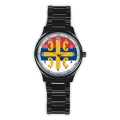 Flag Of The Serbian Orthodox Church Stainless Steel Round Watch by abbeyz71