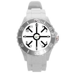 Coptic Cross Round Plastic Sport Watch (l) by abbeyz71