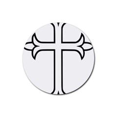 Western Syriac Cross Rubber Coaster (round)  by abbeyz71