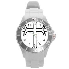 Western Syriac Cross Round Plastic Sport Watch (l) by abbeyz71