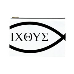 Ichthys  jesus Christ, Son Of God, Savior  Symbol Cosmetic Bag (large)  by abbeyz71