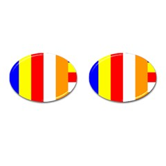 International Flag Of Buddhism Cufflinks (oval) by abbeyz71