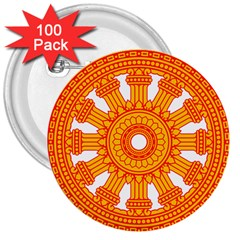 Dharmacakra 3  Buttons (100 Pack)  by abbeyz71