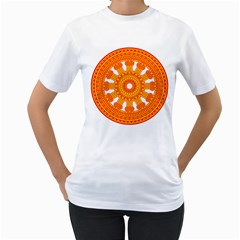 Dharmacakra Women s T Shirt (white)  by abbeyz71