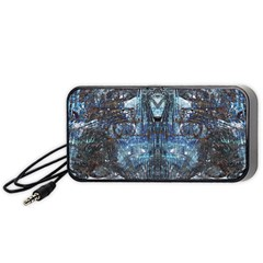 Angel Wings Blue Grunge Texture Portable Speaker (black) by CrypticFragmentsDesign