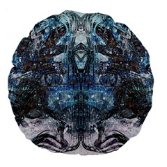 Angel Wings Blue Grunge Texture Large 18  Premium Flano Round Cushions by CrypticFragmentsDesign