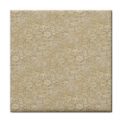 Old Floral Crochet Lace Pattern Beige Bleached Tile Coasters by EDDArt