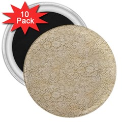 Old Floral Crochet Lace Pattern Beige Bleached 3  Magnets (10 Pack)  by EDDArt