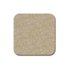 Old Floral Crochet Lace Pattern Beige Bleached Rubber Coaster (square)  by EDDArt