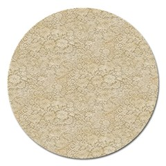 Old Floral Crochet Lace Pattern Beige Bleached Magnet 5  (round) by EDDArt