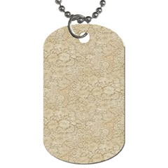 Old Floral Crochet Lace Pattern Beige Bleached Dog Tag (two Sides) by EDDArt