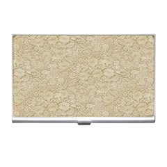 Old Floral Crochet Lace Pattern Beige Bleached Business Card Holders by EDDArt