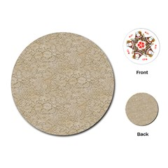 Old Floral Crochet Lace Pattern Beige Bleached Playing Cards (round)  by EDDArt