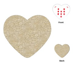 Old Floral Crochet Lace Pattern Beige Bleached Playing Cards (heart)  by EDDArt