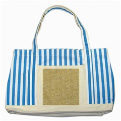 Old Floral Crochet Lace Pattern Beige Bleached Striped Blue Tote Bag by EDDArt