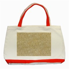 Old Floral Crochet Lace Pattern Beige Bleached Classic Tote Bag (red) by EDDArt