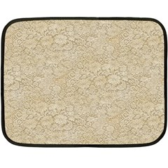 Old Floral Crochet Lace Pattern Beige Bleached Fleece Blanket (mini) by EDDArt