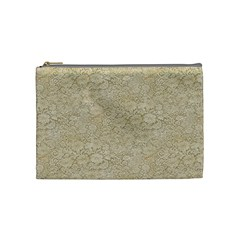 Old Floral Crochet Lace Pattern Beige Bleached Cosmetic Bag (medium)  by EDDArt