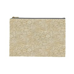 Old Floral Crochet Lace Pattern Beige Bleached Cosmetic Bag (large)  by EDDArt