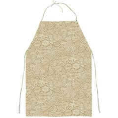 Old Floral Crochet Lace Pattern Beige Bleached Full Print Aprons by EDDArt