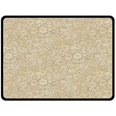 Old Floral Crochet Lace Pattern Beige Bleached Fleece Blanket (large)  by EDDArt