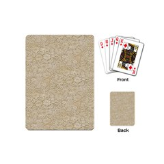 Old Floral Crochet Lace Pattern Beige Bleached Playing Cards (mini)  by EDDArt