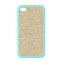 Old Floral Crochet Lace Pattern Beige Bleached Apple Iphone 4 Case (color) by EDDArt