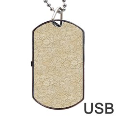 Old Floral Crochet Lace Pattern Beige Bleached Dog Tag Usb Flash (one Side) by EDDArt