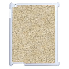 Old Floral Crochet Lace Pattern Beige Bleached Apple Ipad 2 Case (white) by EDDArt