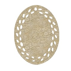 Old Floral Crochet Lace Pattern Beige Bleached Ornament (oval Filigree) by EDDArt