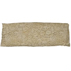Old Floral Crochet Lace Pattern Beige Bleached Body Pillow Case (dakimakura) by EDDArt