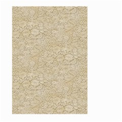 Old Floral Crochet Lace Pattern Beige Bleached Large Garden Flag (two Sides) by EDDArt