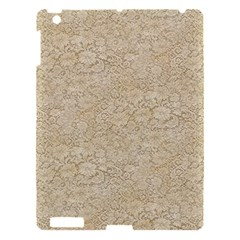 Old Floral Crochet Lace Pattern Beige Bleached Apple Ipad 3/4 Hardshell Case by EDDArt