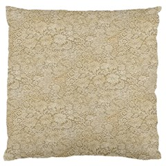 Old Floral Crochet Lace Pattern Beige Bleached Large Cushion Case (one Side) by EDDArt
