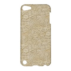 Old Floral Crochet Lace Pattern Beige Bleached Apple Ipod Touch 5 Hardshell Case by EDDArt