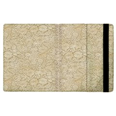 Old Floral Crochet Lace Pattern Beige Bleached Apple Ipad 2 Flip Case by EDDArt
