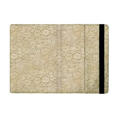 Old Floral Crochet Lace Pattern Beige Bleached Apple Ipad Mini Flip Case by EDDArt