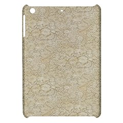Old Floral Crochet Lace Pattern Beige Bleached Apple Ipad Mini Hardshell Case by EDDArt
