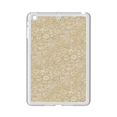 Old Floral Crochet Lace Pattern Beige Bleached Ipad Mini 2 Enamel Coated Cases by EDDArt