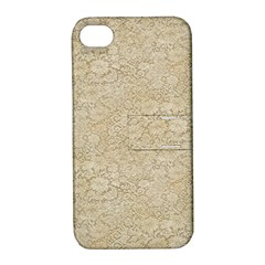 Old Floral Crochet Lace Pattern Beige Bleached Apple Iphone 4/4s Hardshell Case With Stand by EDDArt